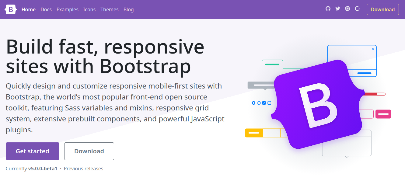 new bootstrap 5 beta homepage screenshot